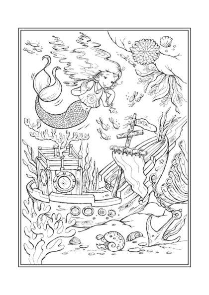 Раскраска Русалочка и затонувший корабль | Чудо ребенок