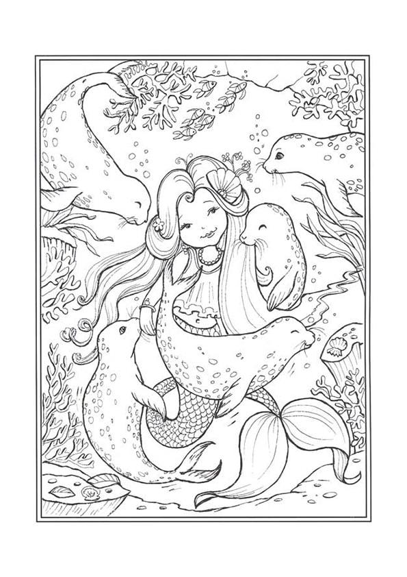 Раскраска Русалочка и морские котики | Чудо ребенок