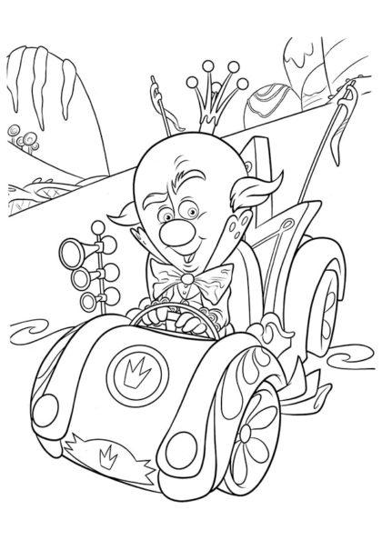 Раскраска Король участник гонки скачать или распечатать