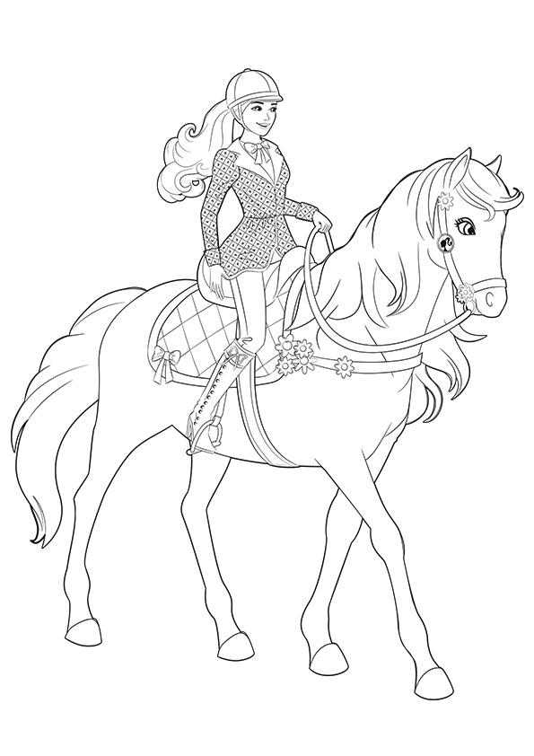 Раскраска лошадь Барби зовут Благородная | Чудо ребенок