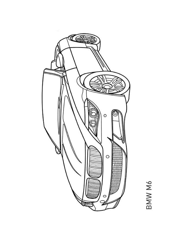 Раскраска кабриолет BMW M6 | Транспорт | Чудо ребенок