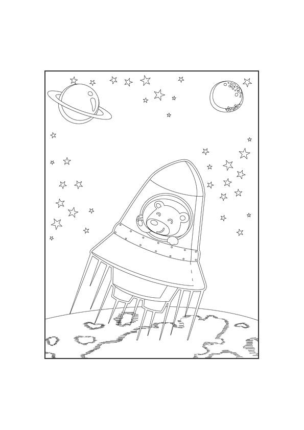 Раскраска ракета в космосе   Чудо ребенок
