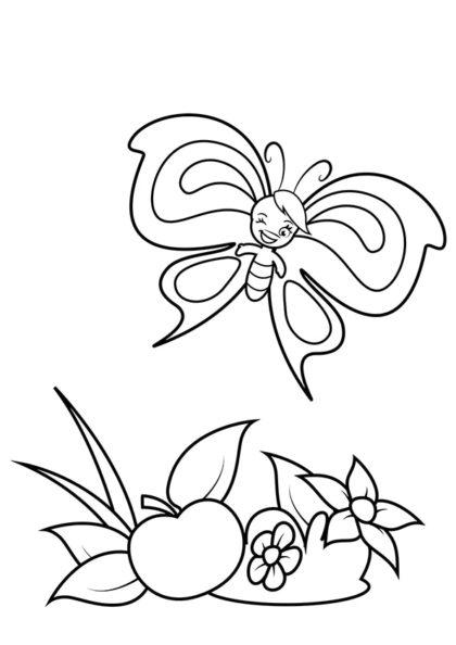 Раскраска Мальчик бабочка и яблочко скачать или распечатать