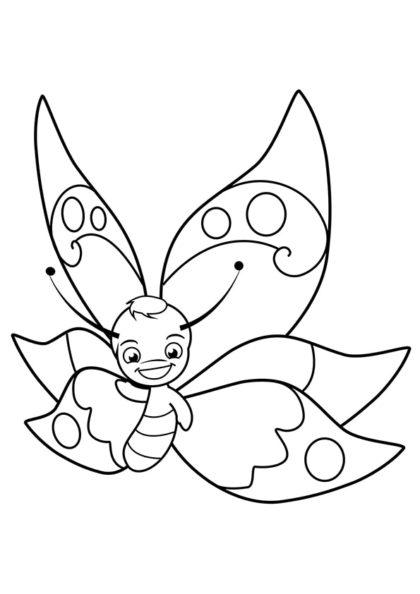 Раскраска Мальчик бабочка улыбается скачать или распечатать