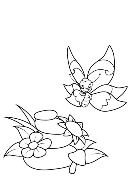 Раскраска Бабочка и пирамидка из камней скачать или распечатать