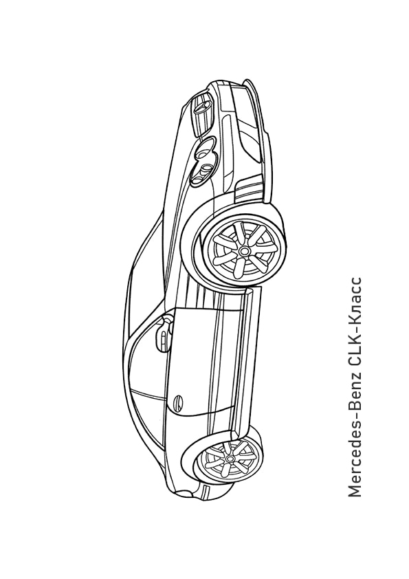 Раскраска купе Mercedes-Benz CLK500 | Транспорт | Чудо ребенок