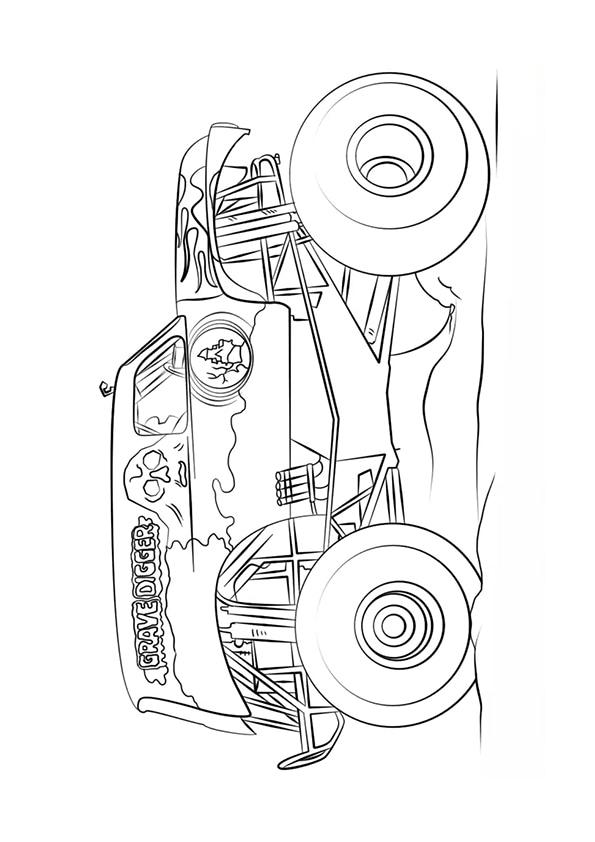 Раскраска Grave Digger Монстр–грузовик   Чудо ребенок