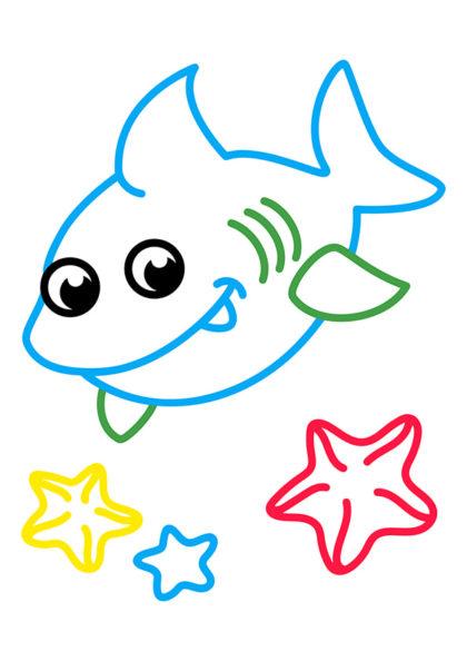 Раскраска Акулёнок | Раскраски по цветам | Чудо ребенок