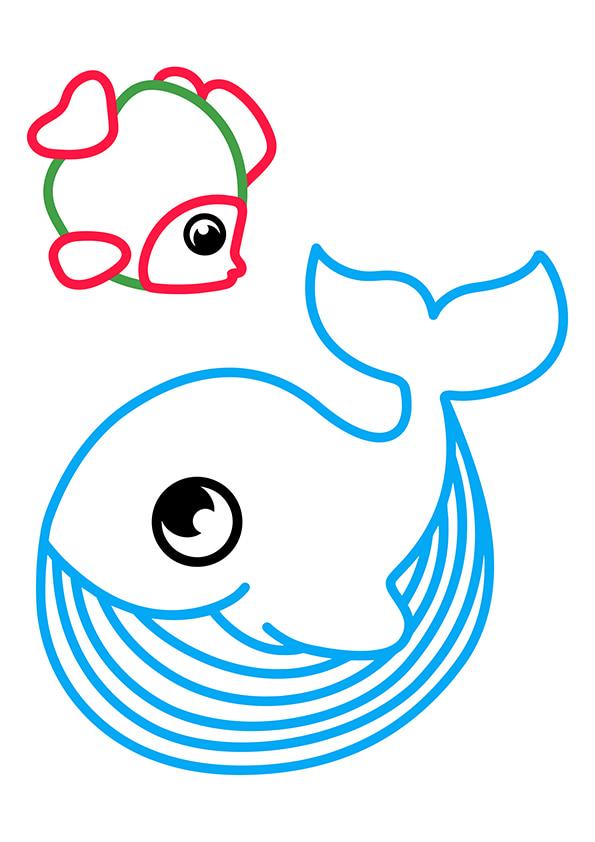 Раскраска Рыбка и кит | Раскраски по цветам | Чудо ребенок