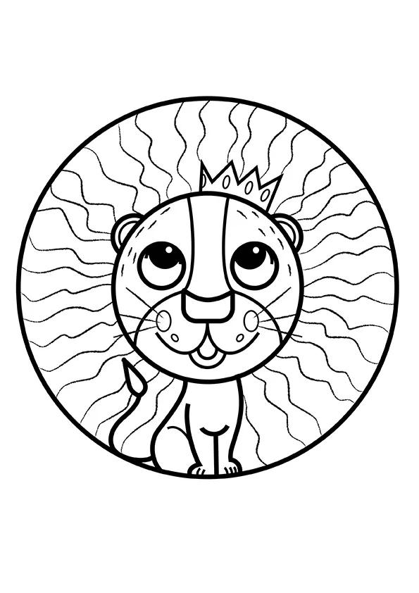Раскраска Лёвушка и корона | Мандалы зверушек | Чудо ребенок