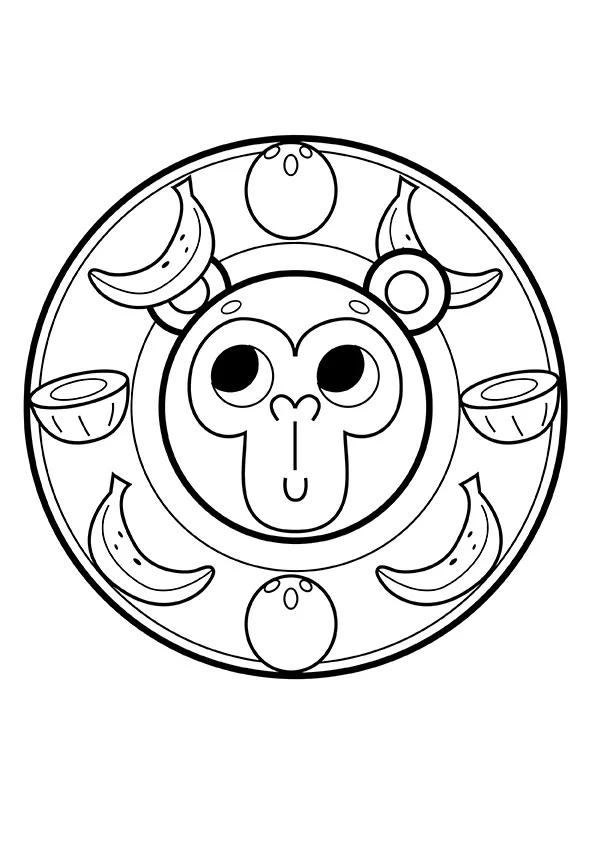 Раскраска Милая обезьяна   Мандалы зверушек   Чудо ребенок