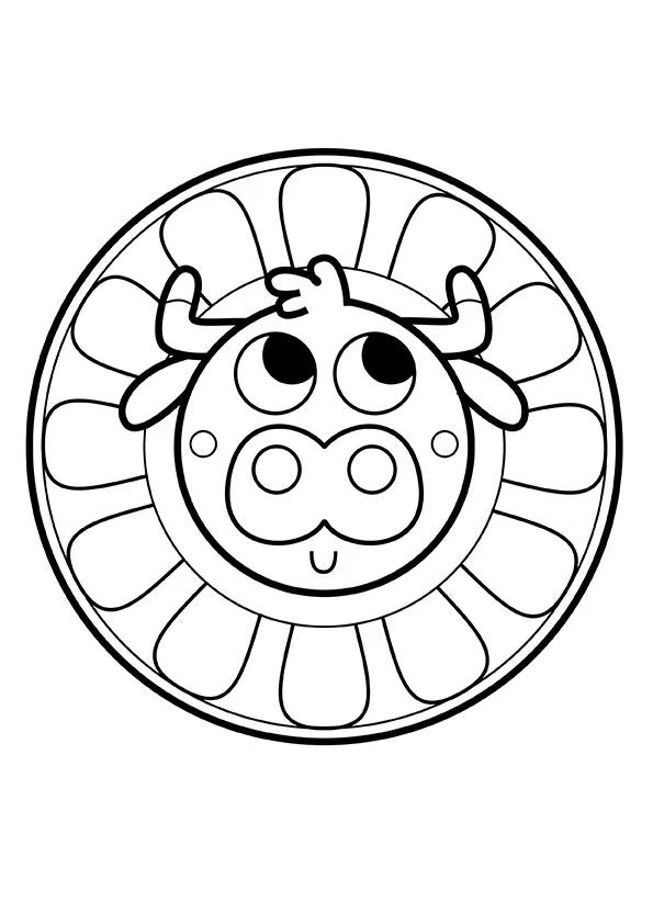 Раскраска Милая корова | Мандалы зверушек | Чудо ребенок