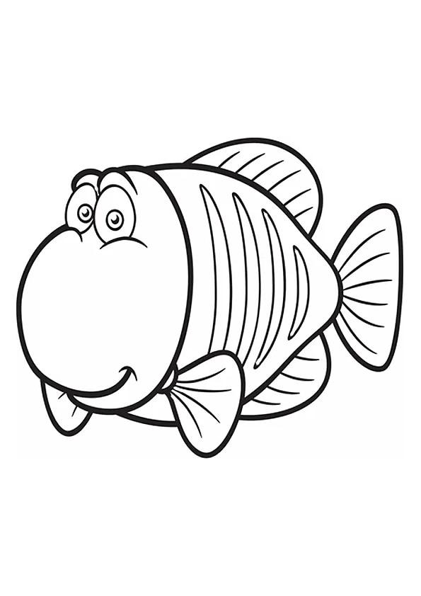 Раскраска Задумчивая рыбка | Подводный мир | Чудо ребенок