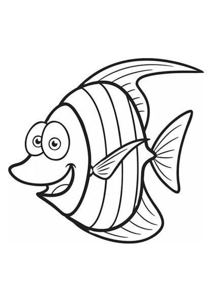Раскраска Милая скалярия | Подводный мир | Чудо ребенок