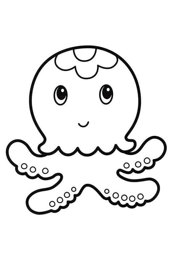Раскраска Милый спрут | Подводный мир | Чудо ребенок