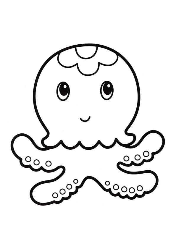 Раскраска Маленькая медуза | Подводный мир | Чудо ребенок