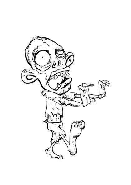Раскраска Зомби Большая голова | Чудо ребенок