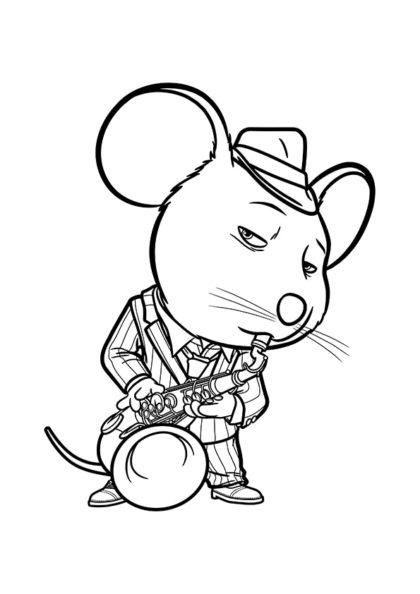 Раскраска Саксофонист мышь Майк скачать или распечатать