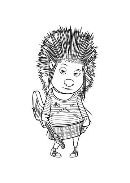 Раскраска Дикобразиха панк-рокер Эш скачать или распечатать