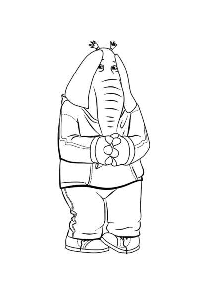 Раскраска Слониха-подросток Мина скачать или распечатать
