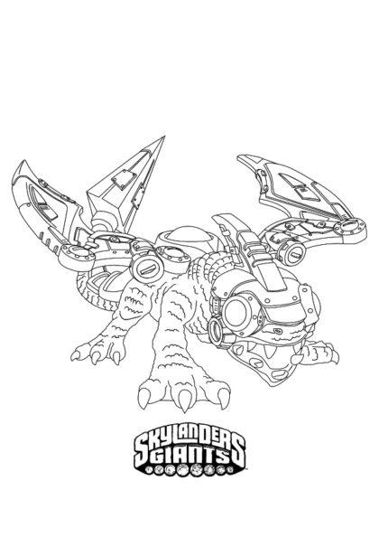 Раскраска Скайлендер–дракон Дробот скачать или распечатать