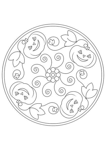 Раскраска Мандала Фонарь Джека скачать или распечатать