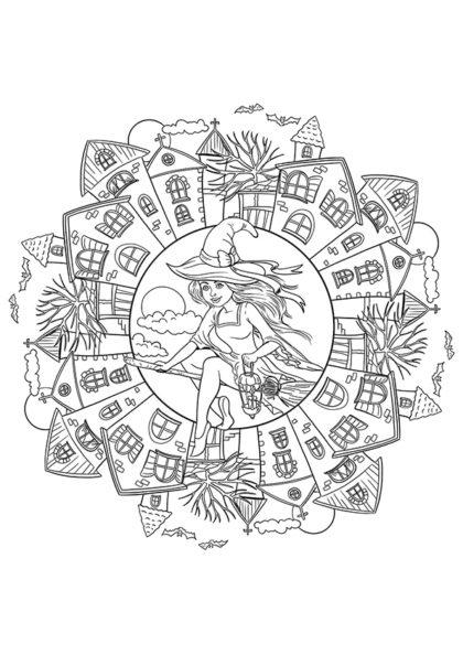 Раскраска Мандала Ведьма в деревне скачать или распечатать