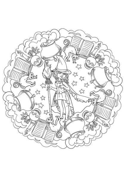 Раскраска Мандала Ведьма и горшок зелья скачать или распечатать
