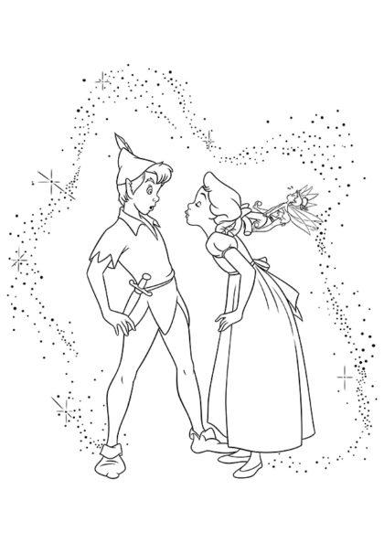 Раскраска Венди хочет поцеловать Питера Пэна скачать или распечатать