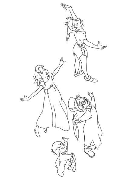 Раскраска Питер Пэн и Венди с братьями летят скачать или распечатать