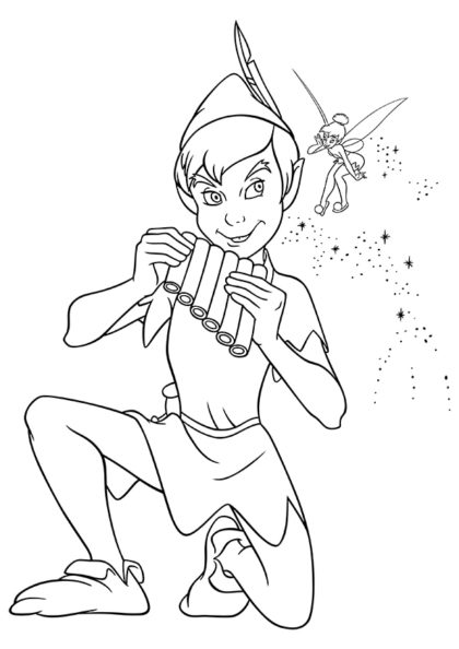 Раскраска Питер Пэн играет на Флейте Пана скачать или распечатать
