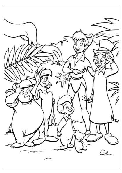 Раскраска Питер Пэн и его товарищи, братья Дарлинг скачать или распечатать