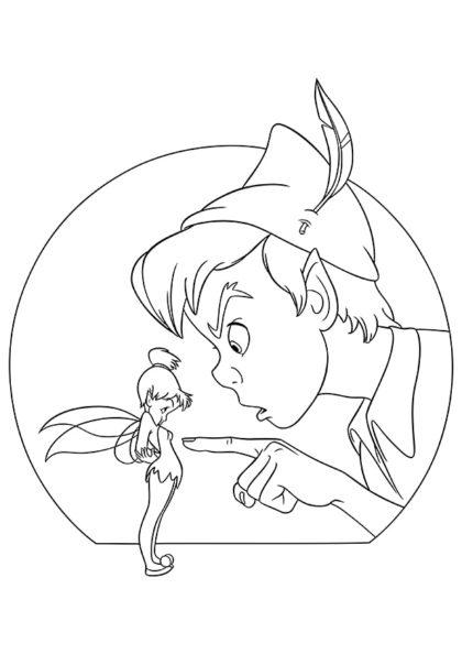 Раскраска Питер Пэн недоволен Динь-Динь скачать или распечатать