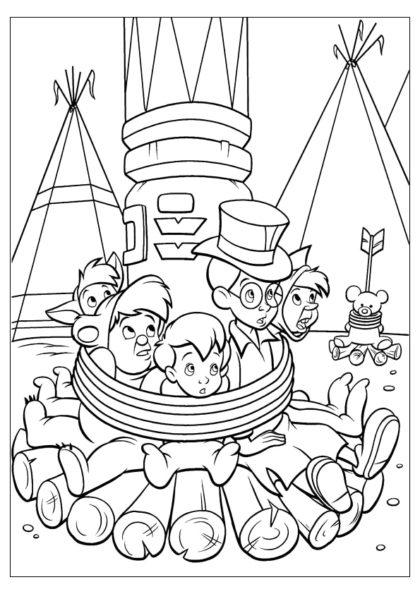 Раскраска Мальчишки в плену у индейцев скачать или распечатать