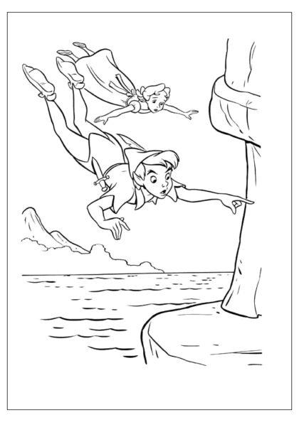 Раскраска Питер Пэн и Венди летят скачать или распечатать