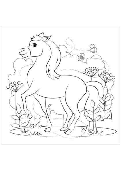 Раскраска Лошадь скачать или распечатать
