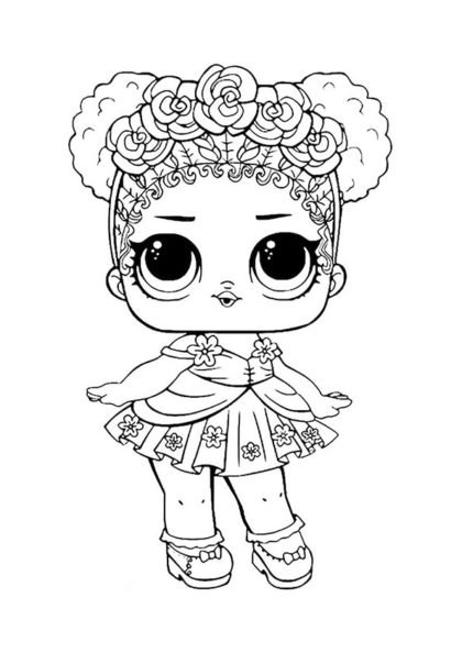 Раскраска ЛОЛ сестричка Цветочек скачать или распечатать