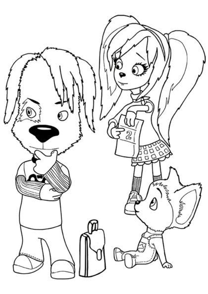 Раскраска Дружок, Роза и Малыш скачать или распечатать