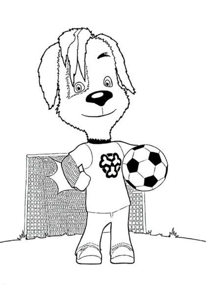 Раскраска Дружок Барбоскин футболист скачать или распечатать