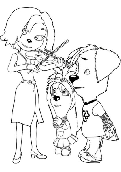 Раскраска Дружок с Лизой и Мамой скачать или распечатать