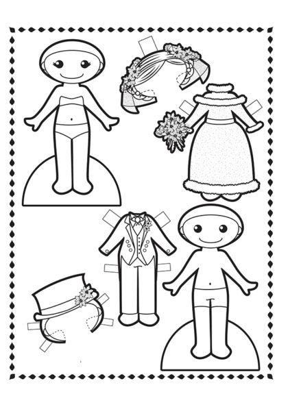 Раскраска Свадебные наряды скачать или распечатать