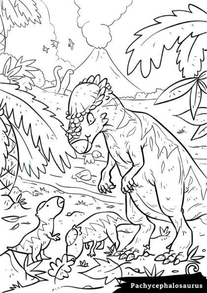 Раскраска Сухопутный травоядный Пахицефалозавр скачать или распечатать