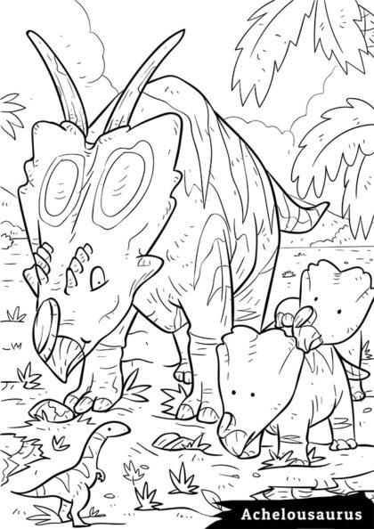 Раскраска Сухопутный травоядный Ахелоузавр скачать или распечатать