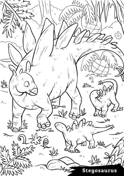 Раскраска Сухопутный травоядный Стегозавр скачать или распечатать