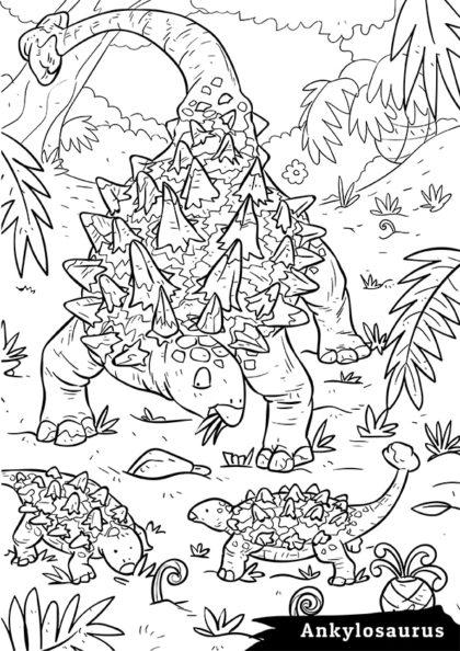 Раскраска Сухопутный травоядный Анкилозавр скачать или распечатать