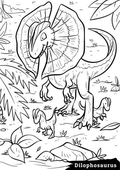 Раскраска Сухопутный плотоядный Дилофозавр скачать или распечатать