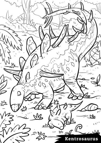 Раскраска Сухопутный травоядный Кентрозавр скачать или распечатать