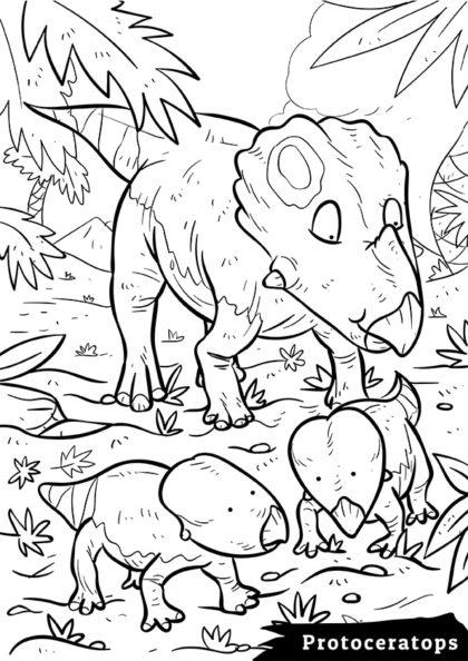 Раскраска Сухопутный травоядный Протоцератопс скачать или распечатать