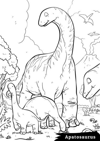 Раскраска Сухопутный травоядный Апатозавр скачать или распечатать