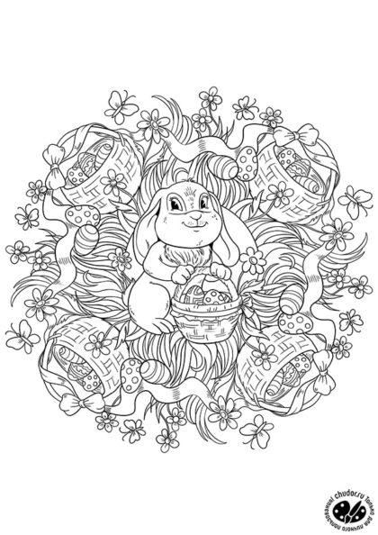 Раскраска Пасхальная мандала «Кролик и корзинки яиц» скачать или распечатать